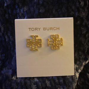 COPY - Tori Burch Gold Logo earrings new